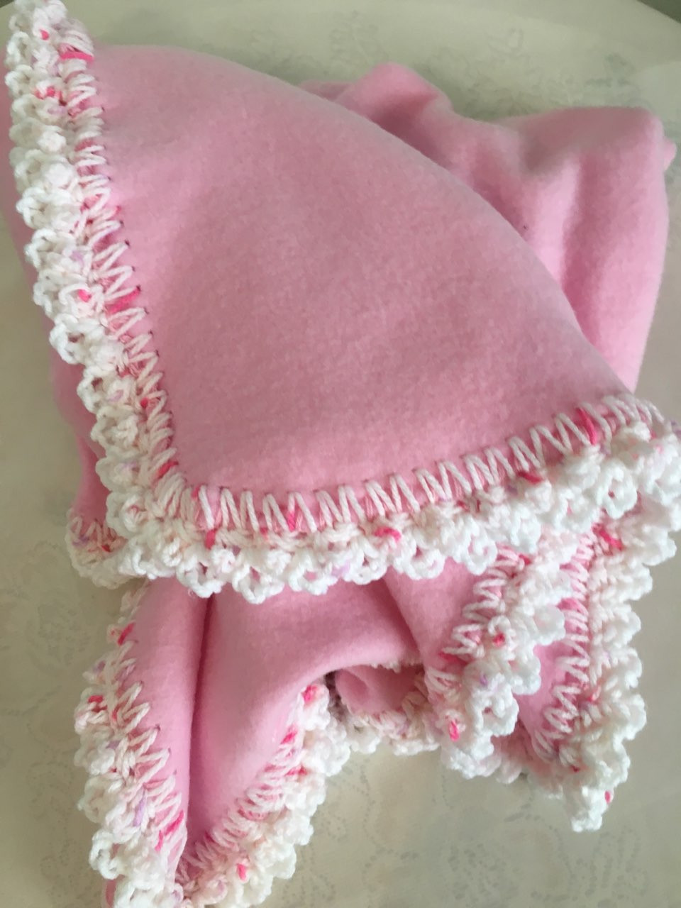 Pink Peppermint Polar Fleece Baby Blanket Country Look Hand Crocheted Border Peppermint Peppermint White Free Shipping Shop1707llc