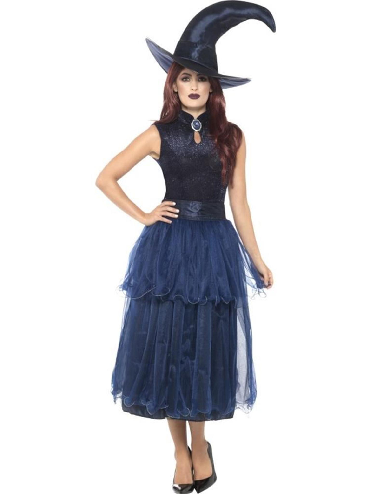 Costume Halloween Uk.Deluxe Midnight Witch Costume Halloween Adult Fancy Dress Uk Size 8 10