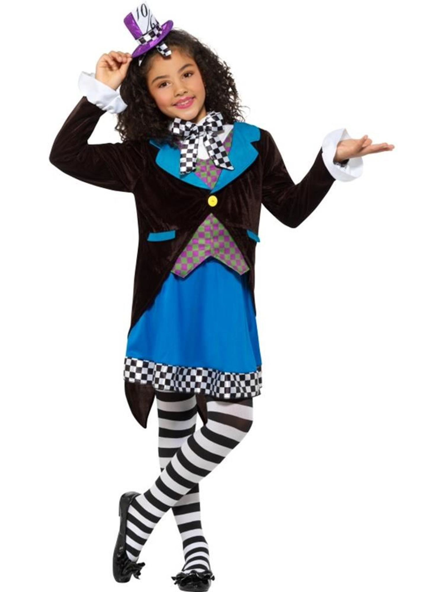 Little Miss Mad Hatter Costume, with Dress,Girls Fancy Dress,Large Age 10,12