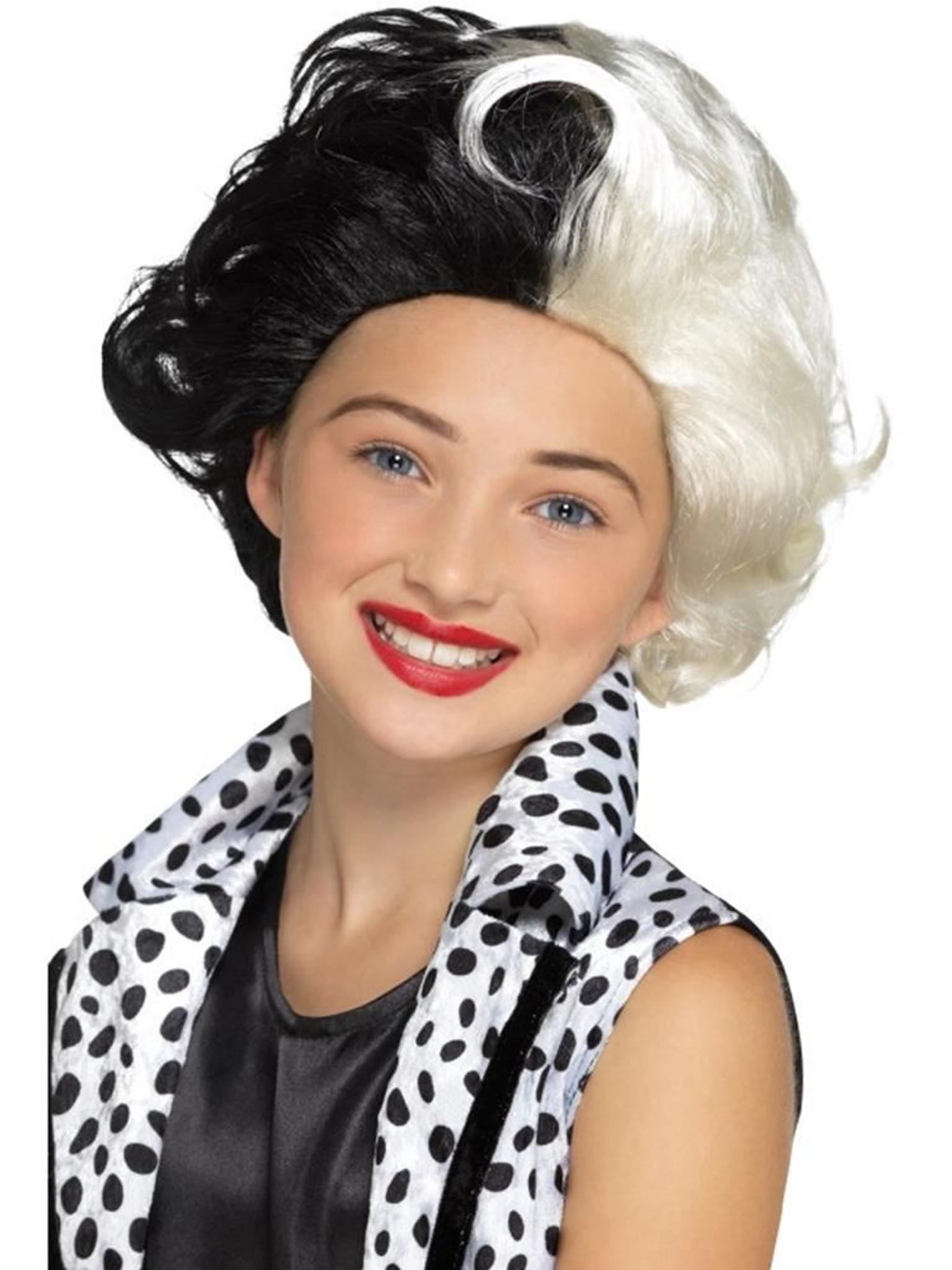 Girls Evil Madame Wig Black /& White Kids Childs Childrens Fancy Dress