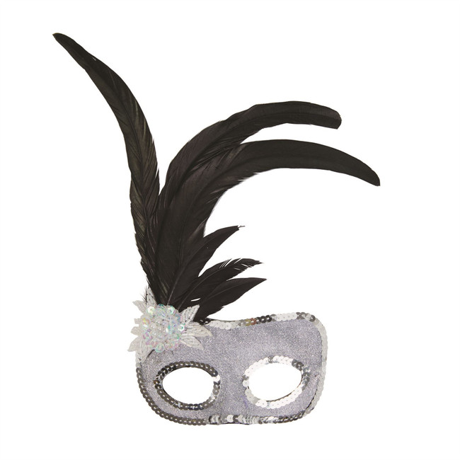 Silver Face Mask with Sequins
