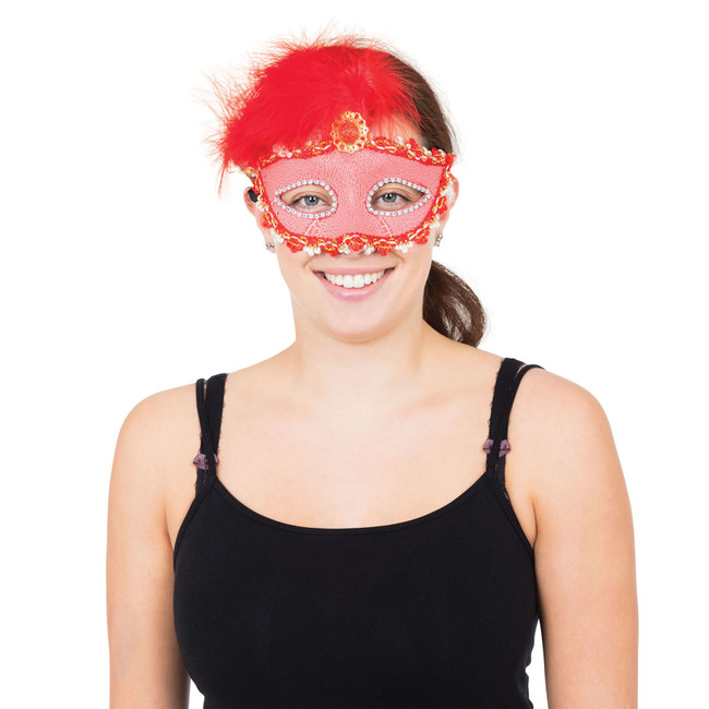Red Tall Feather Eyemask