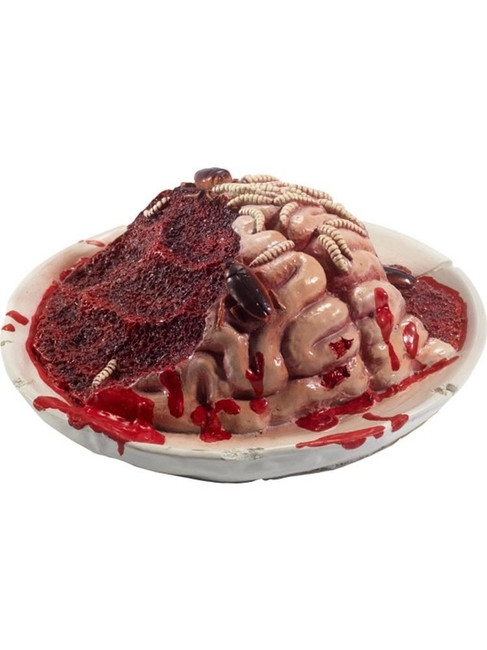Latex Gory Gourmet Rotting Brain Plate Prop,Halloween Fancy Dress AccessorY