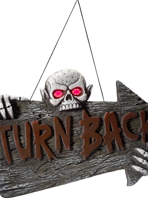 Light Up Turn Back Hanging Sign, Halloween Fancy Dress Accessories