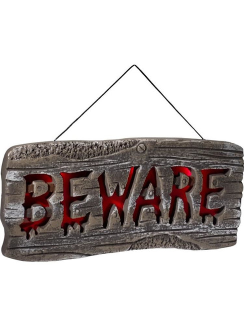 Light Up Hanging Beware Sign, Halloween Fancy Dress Accessories. One Size