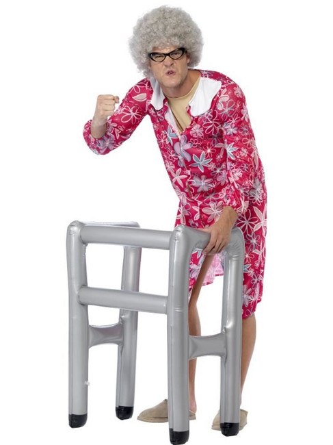 Inflatable Zimmer Frame, Old Man/Lady/OAP, Blow Up Joke Gift, SILVER