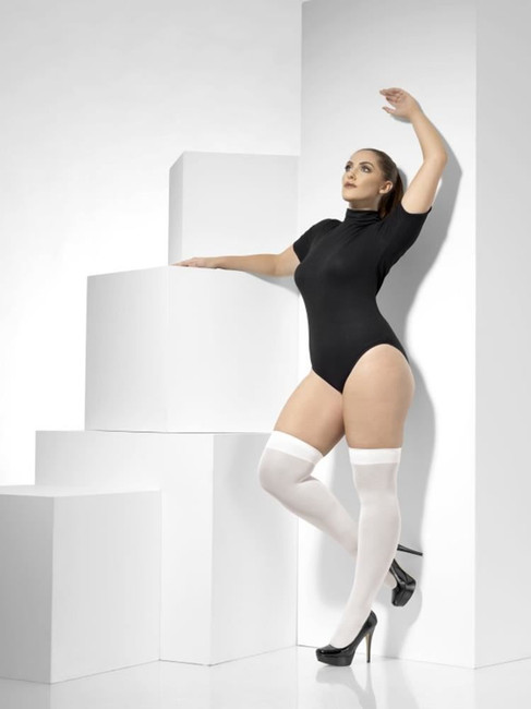 White Opaque Hold-Ups, Fever Hosiery. Plus Size