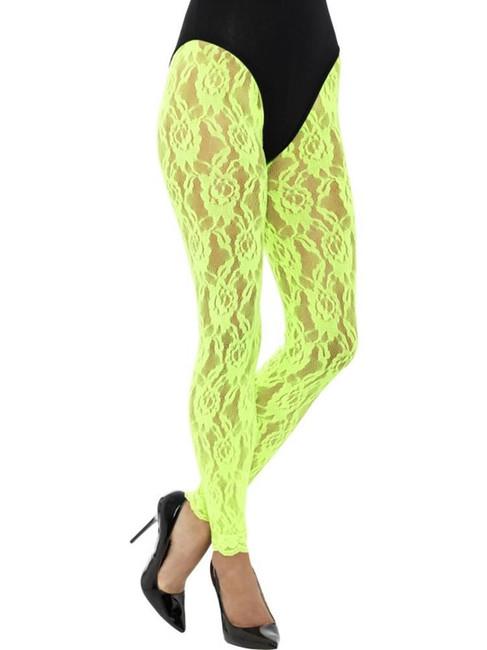 Neon Green 80's Lace Leggings, 1980's Fancy Dress. One Size
