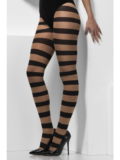 Nude & Black Opaque Tights, Glam Witch, Fever Hosiery. One Size
