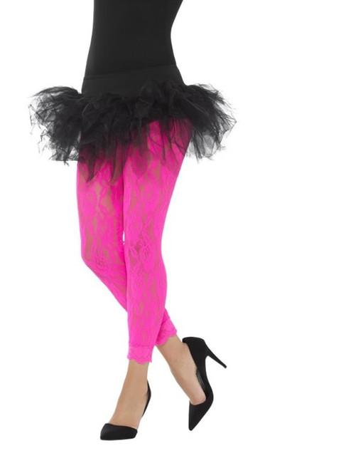 Neon Pink 80's Lace Leggings, 1980's Fancy Dress. One Size
