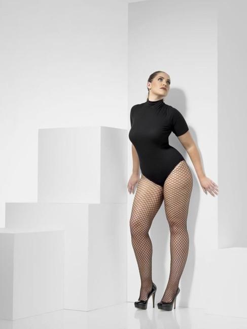 Black Lattice Net Tights, Fever Hosiery. Plus Size