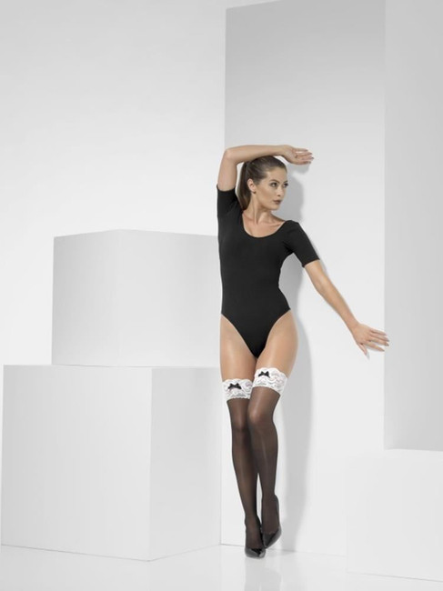 Black French Maid Hold-Ups, Fever Hosiery. One Size