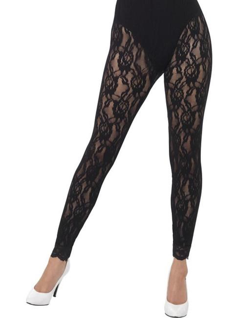 80's Lace Leggings, Adult Fancy Dress Costumes, BLACK