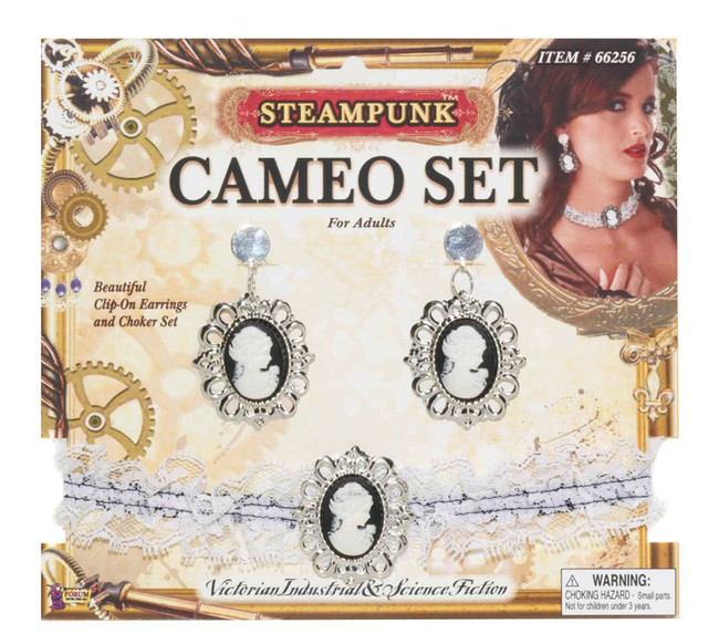 Steampunk Cameo Ear Rings/Choker Set