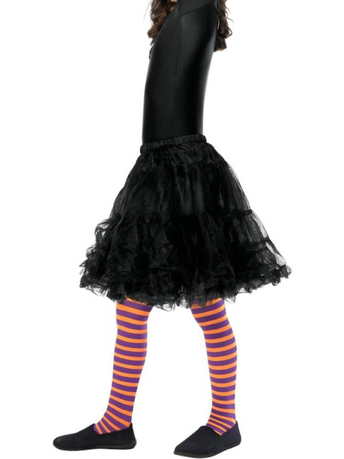 Wicked Witch Tights,Child, Orange and Purple,Medium/Large Age 8-12