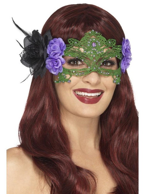 Embroidered Lace Filigree Witch Eyemask, Halloween Fancy Dress Accessories
