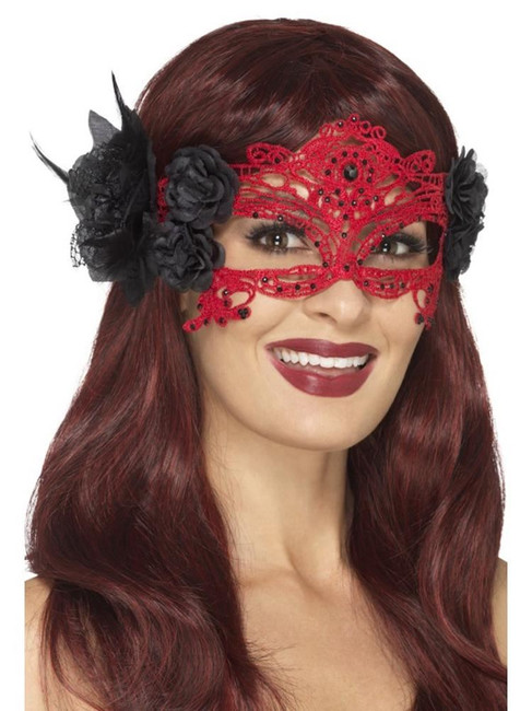 Embroidered Lace Filigree Devil Eyemask,Halloween Carnival Fancy Dress