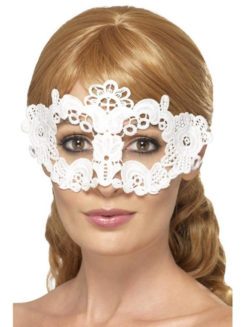 Embroidered Lace Filigree Floral Eyemask, Halloween Fancy Dress, WHITE