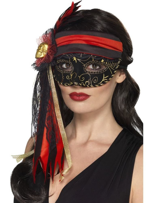 Masquerade Pirate Eyemask, Cosmetics and Disguises, BLACK