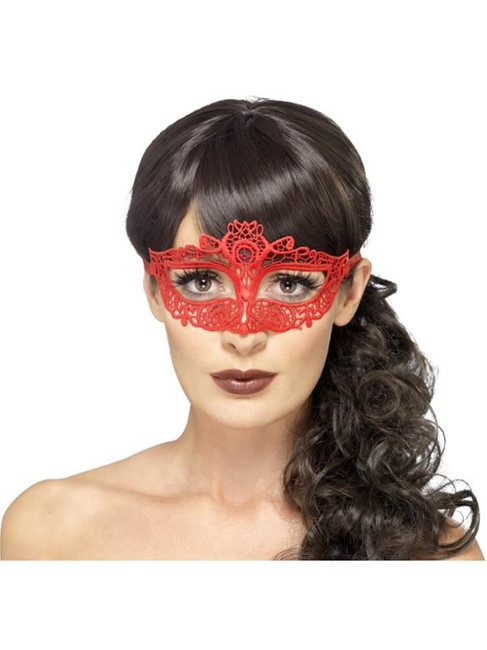 Embroidered Lace Filigree Eyemask, Halloween Fancy Dress, RED