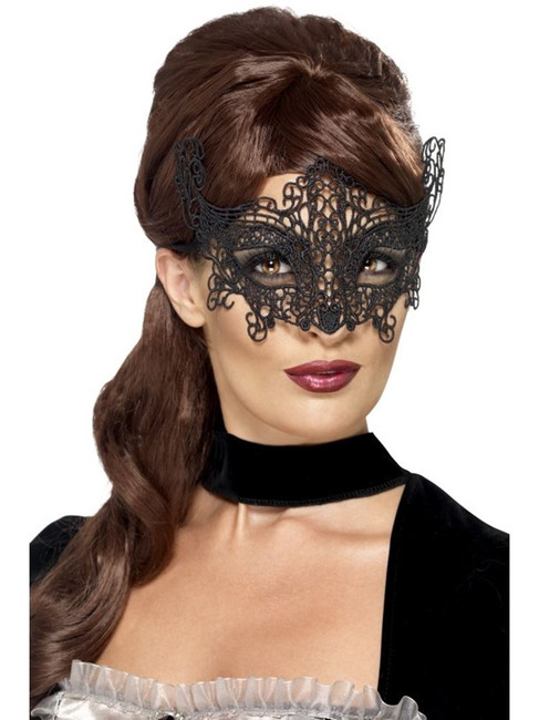 Embroidered Lace Filigree Swirl Eyemask, One Size, Eyemasks, Fancy Dress