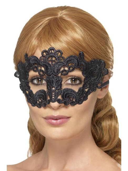Embroidered Lace Filigree Floral Eyemask, Halloween Fancy Dress, BLACK