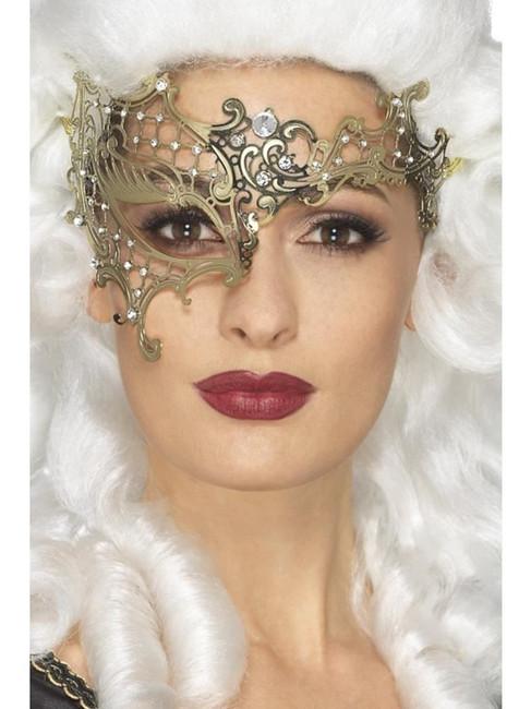 Deluxe Metal Filigree Half Eyemask,Halloween Carnival Fancy Dress
