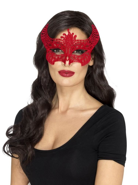 Lace Filigree Devil Mask,  Red, Halloween Carnival of the Damned Fancy Dress