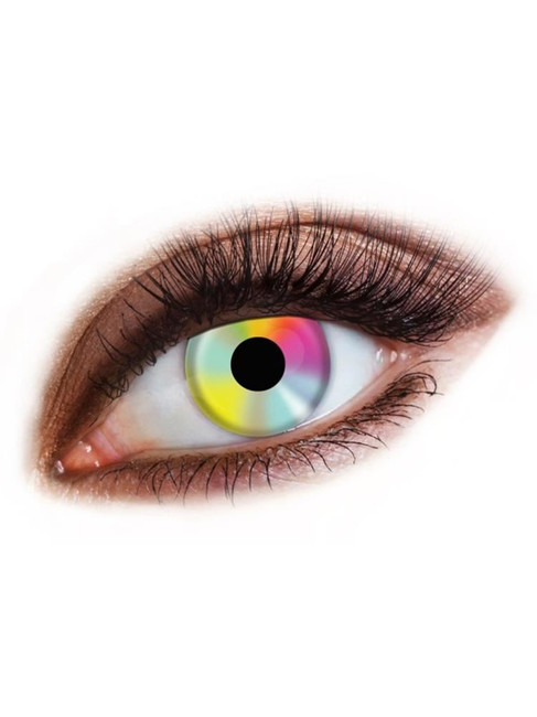 Hippy Multi Coloured Contact Lenses, Also Good for Day of the Dead
