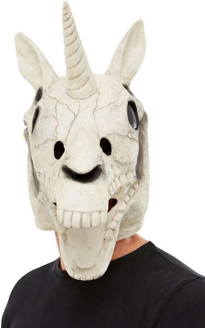 Unicorn Skull Latex Mask, White, Fancy Dress/Halloween Mask