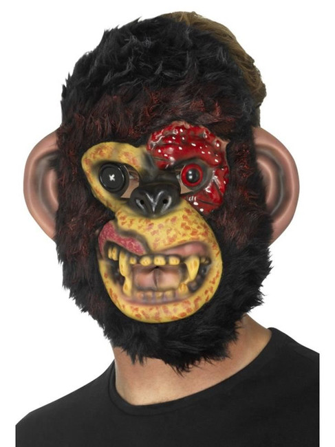 Zombie Chimp Mask, Halloween Zombie Alley Fancy Dress. One Size