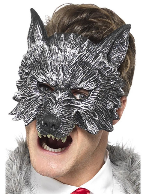 Grey Deluxe Big Bad Wolf Mask, Fairies, Wings and Wands Fancy Dress