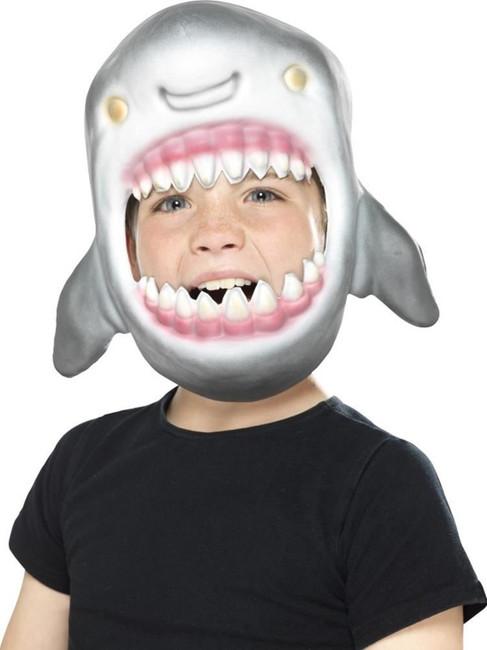 Grey Shark Full Head Mask, Children's Animal Fancy Dress. One Size