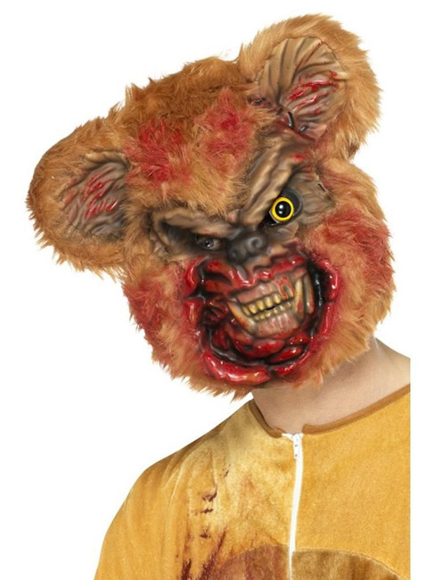 Zombie Teddy Bear Mask, Halloween Zombie Alley Fancy Dress. One Size
