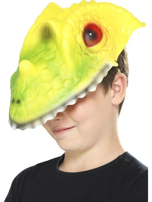 Green & Yellow Crocodile Head Mask, Children's Animal Fancy Dress. One Size