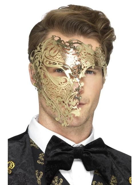 Deluxe Metal Filigree Phantom Mask,Halloween Carnival Fancy Dress