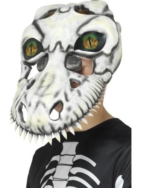 T-Rex Skull Mask, White, Halloween Children's Fancy Dress. One Size