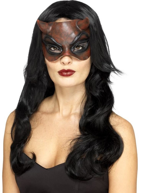 Masquerade Devil Mask with Horns, Latex,Halloween Carnival Fancy Dress,One Size