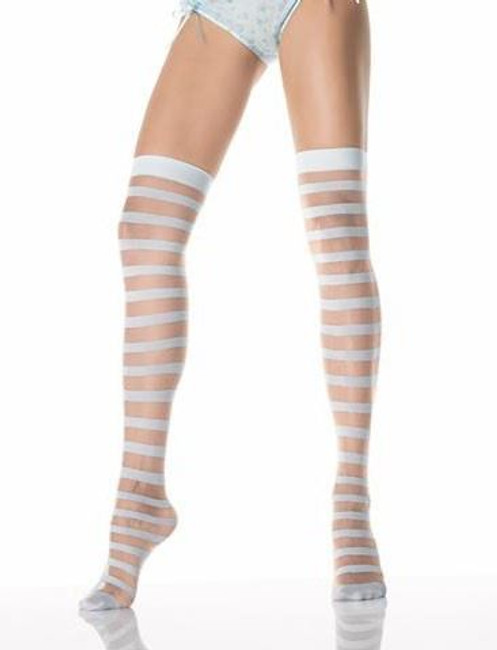 Leg Avenue Striped Stockings One Size Blue