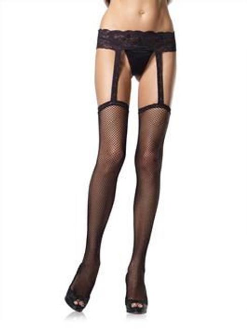 Leg Avenue Fishnet Stockings W/Lace Suspenderbelt One Size Black