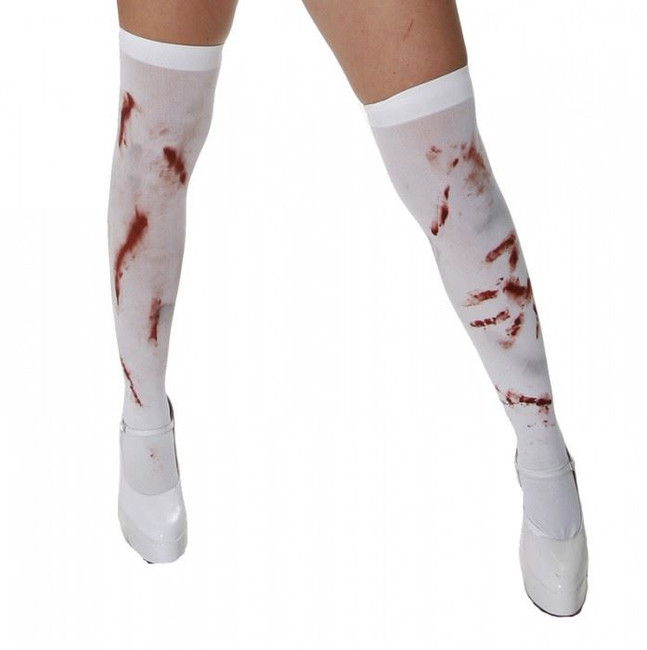 HOLD UP BLOODY STOCKINGS, WHITE WITH BLOOD STAINS