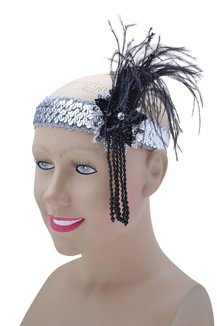 FLAPPER HEADBAND. SILVER SEQUIN BAND DELUXE, ACCESSORIES, FANCY DRESS