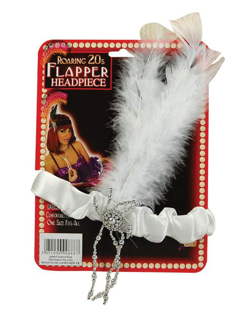 Headwear FLAPPER HEADDRESS,HEADBAND Fancy Dress WHITE