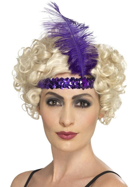 Flapper Headband, 1920s Charlston Fancy Dress, PURPLE