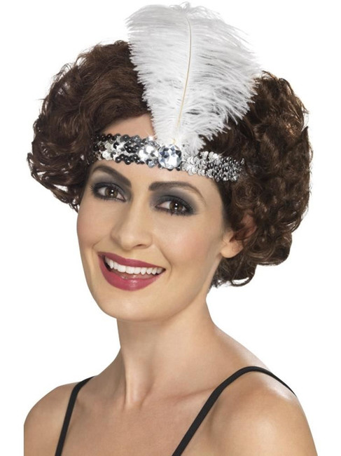 Flapper Headband, 1920s Charlston Fancy Dress Costumes, SILVER