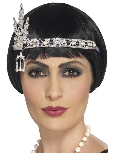 Flapper Jewel Headband, 1920s Charlston Fancy Dress, SILVER