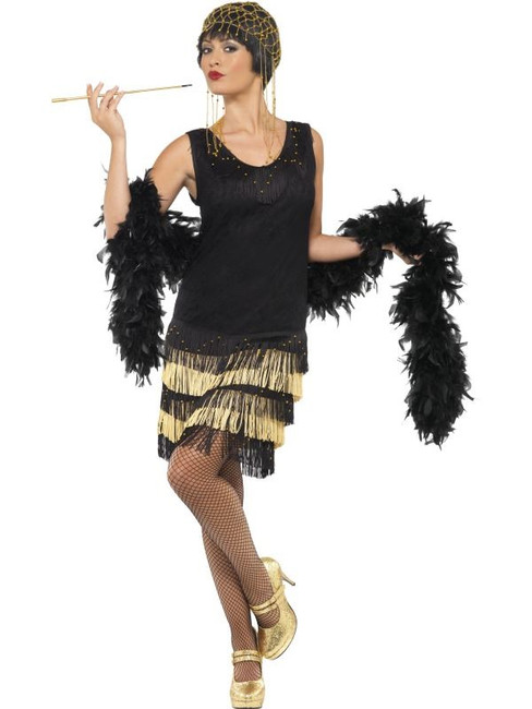 1920's Fringed Flapper Costume, UK Dress 12-14