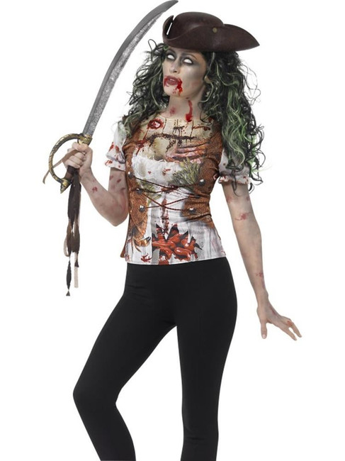 Zombie Pirate Wench T-Shirt, Medium,Halloween Fancy Dress, Womens, UK 12-14