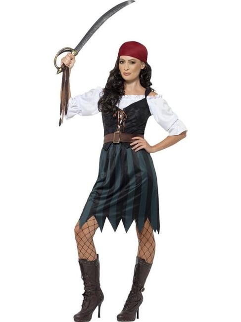 Pirate Deckhand Costume, XL, Fancy Dress, Womens, UK 20-22