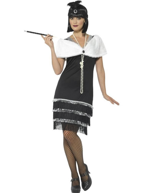 Black Flapper Costume, 1920's Razzle Fancy Dress. UK Size 12-14
